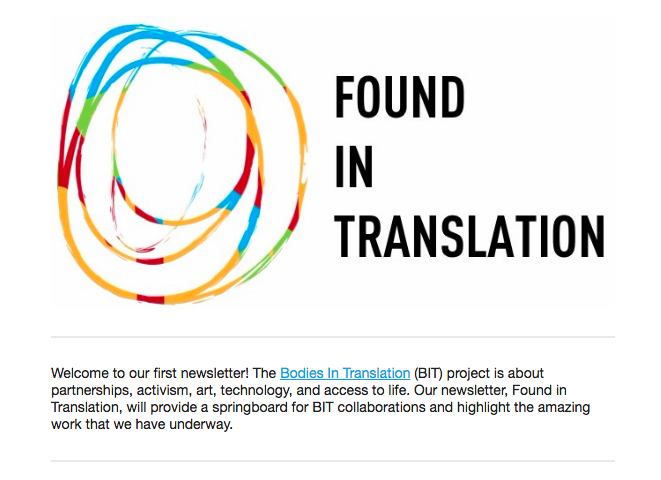 Found in Translation newsletter masthead including the Bodies in Translation multicoloured logo and the words Found In Translation.